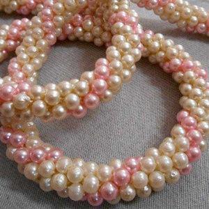 Striped Pearl Beaded Crochet Necklace Jewelry Art